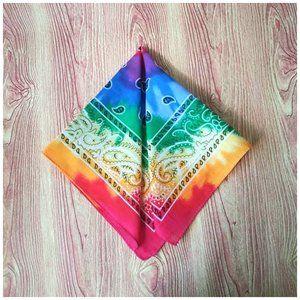 Rainbow Tie Dye Paisley Print Bandana